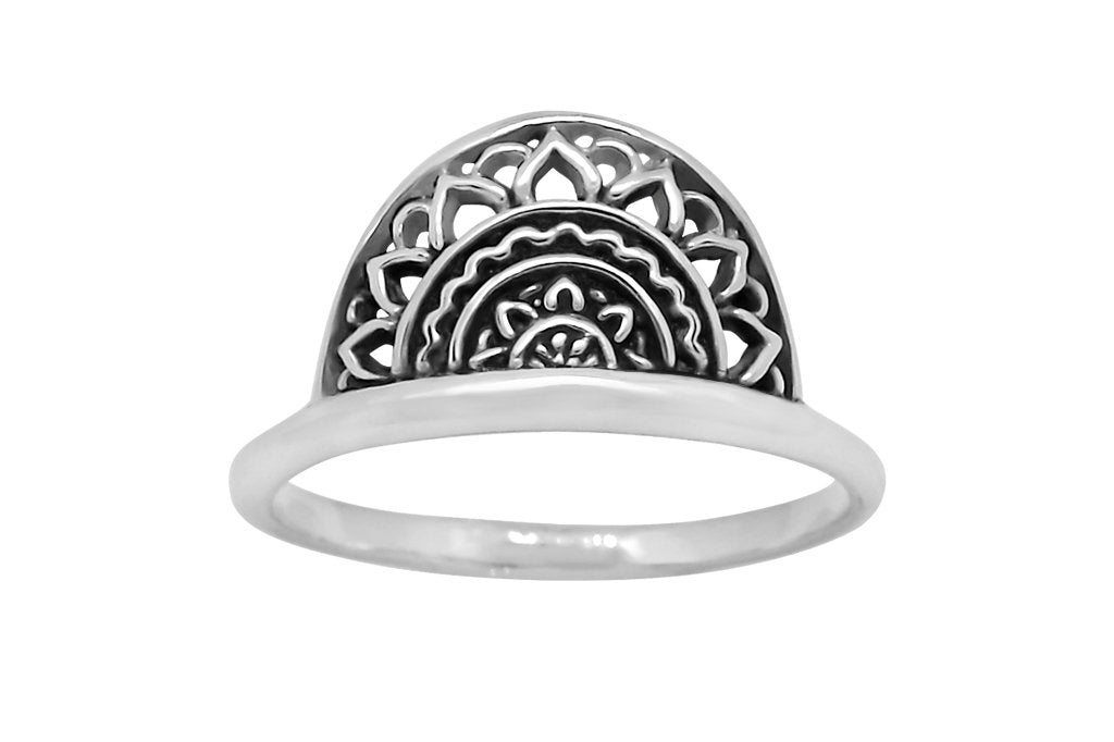 sterling silver half mandala ring boho handmade dainty band gypsy style fashion handmade jewellery kemmi collection