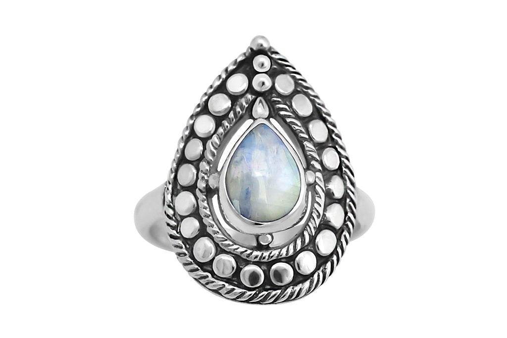 handmade sterling silver ring oxidized rainbow moonstone bohemian statement style kemmi collection
