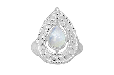 women's sterling silver ring moonstone pear shape style jewelry chic kemmi collection