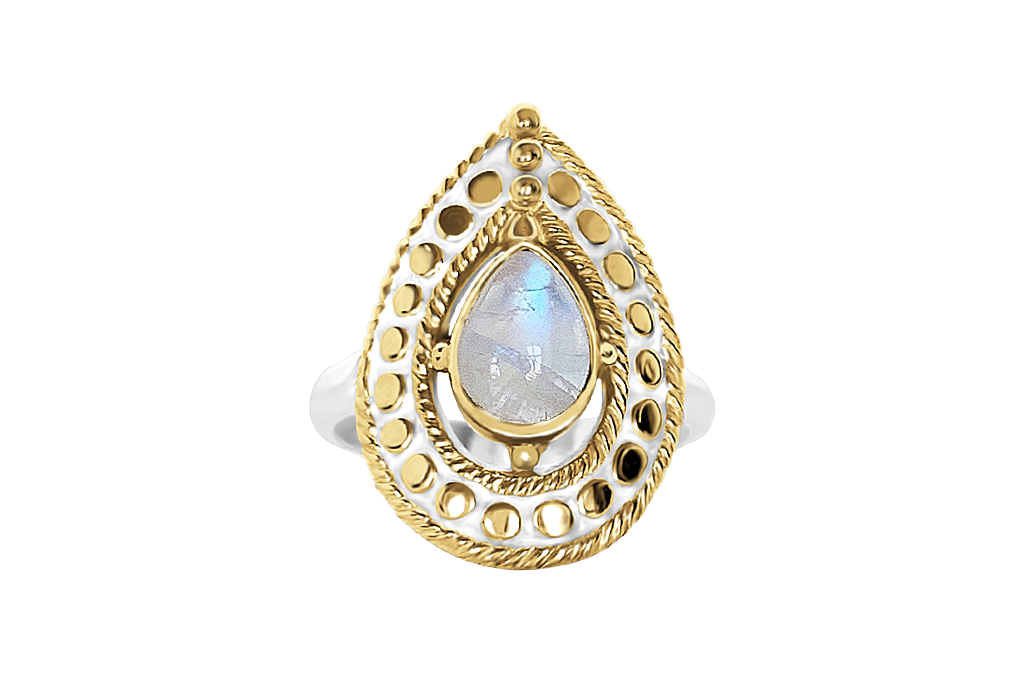 18 yellow gold vermeil sterling silver ring large tear drop moonstone boho chic jewelry statement ring kemmi collection