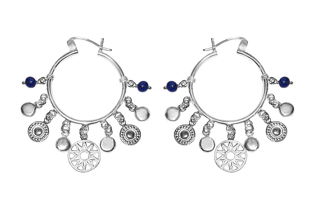 women's sterling silver hoop earrings charms blue lapis bohemian chic jewelry kemmi collection