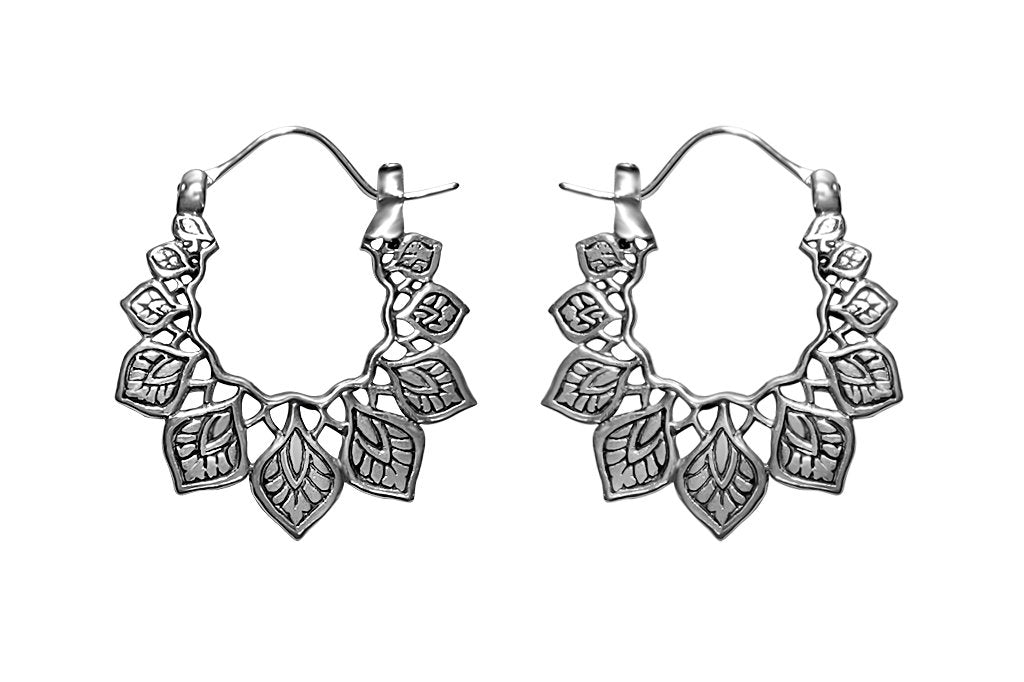 women's Sterling Silver hoop earrings leafs motifs bohemian style kemmi collection