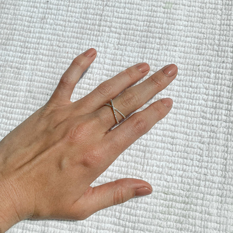 sterling silver twist cross band ring stackable style kemmi jewelry dainty