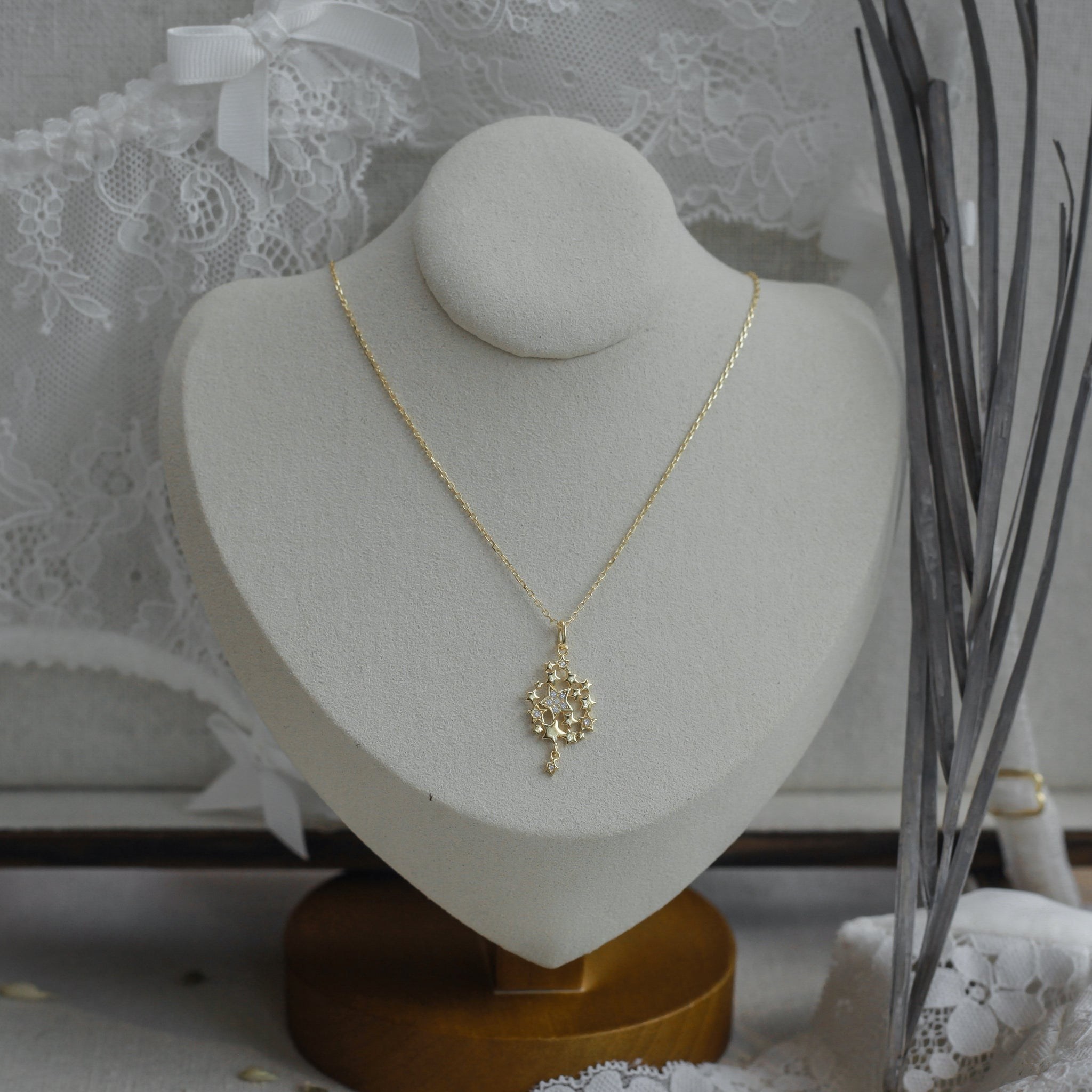 Gold Flake CZ Necklace