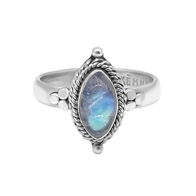 silver ring handmade moonstone natural stone eye shaped sterling 925 boho chic gypsy style festival