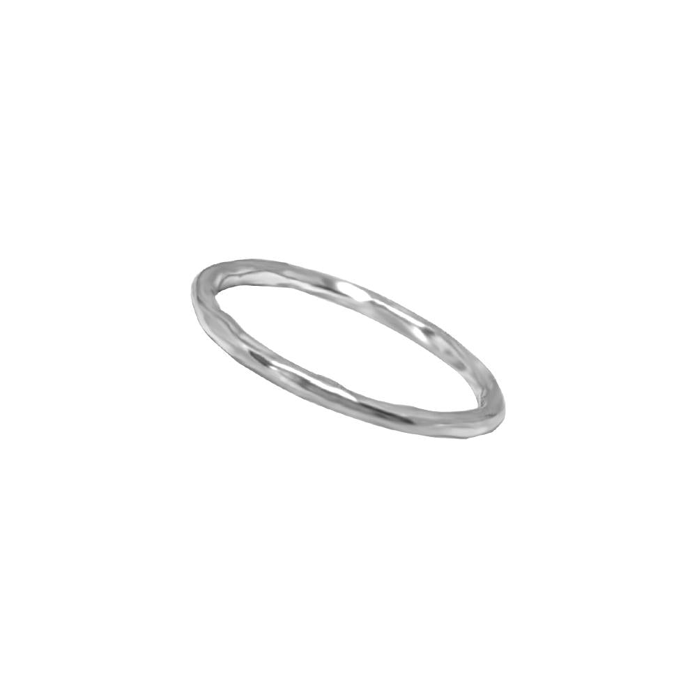 silver ring plain band irregular shape stackable style classic handmade