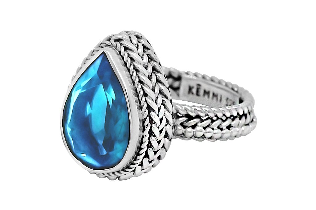 women's silver statement ring blue topaz stone bohemian chic boho handmade jewelry kemmi collection