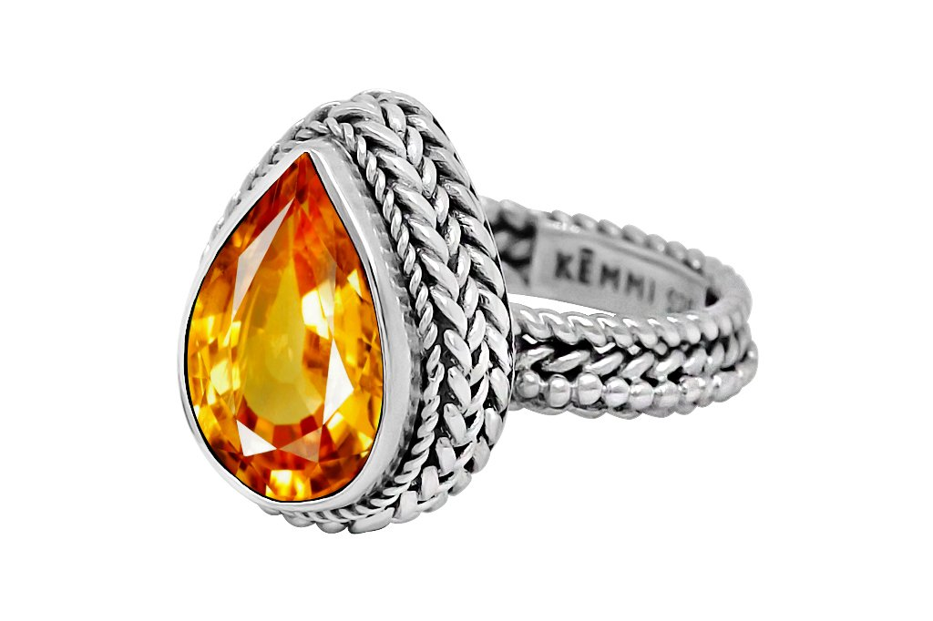 statement sterling silver ring handmade bohemian citrine quartz jewelry kemmi collection