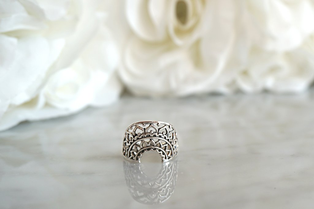 silver ring mandala style bohemian gypsy mermaids handmade jewels kemmi collection