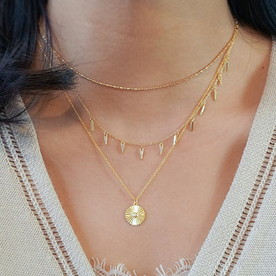 14k gold vermeil necklaces layered styles multi charm coin cz pendant boho chic jewelry kemmi collection handmade
