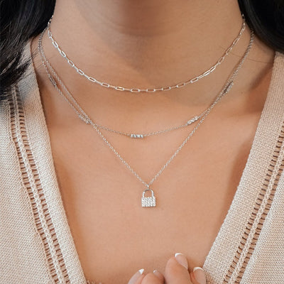 sterling silver stacked necklaces pavé lock pendant paper clip choker multi charm kemmi collection dainty chic jewelry