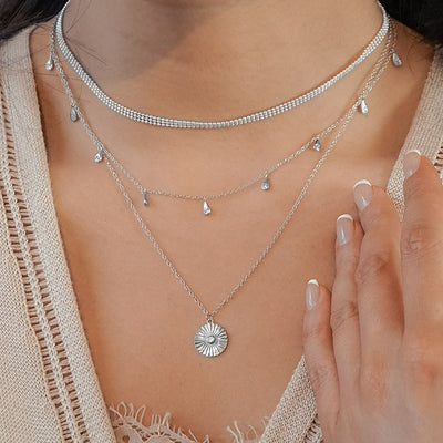 CZ Coin Necklace