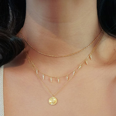 14k gold vermeil layered style necklaces boho chic dainty jewelry kemmi collection handmade