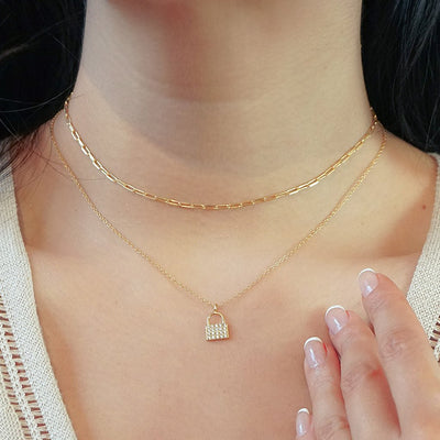 14k gold vermeil necklaces pavé lock pendant paperclip choker layered style bohemian chic jewelry kemmi collection handmade