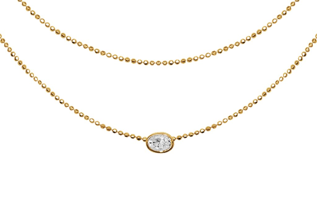 layered style 18k yellow gold necklace single pendant cubic zirconia gold vermeil kemmi collection