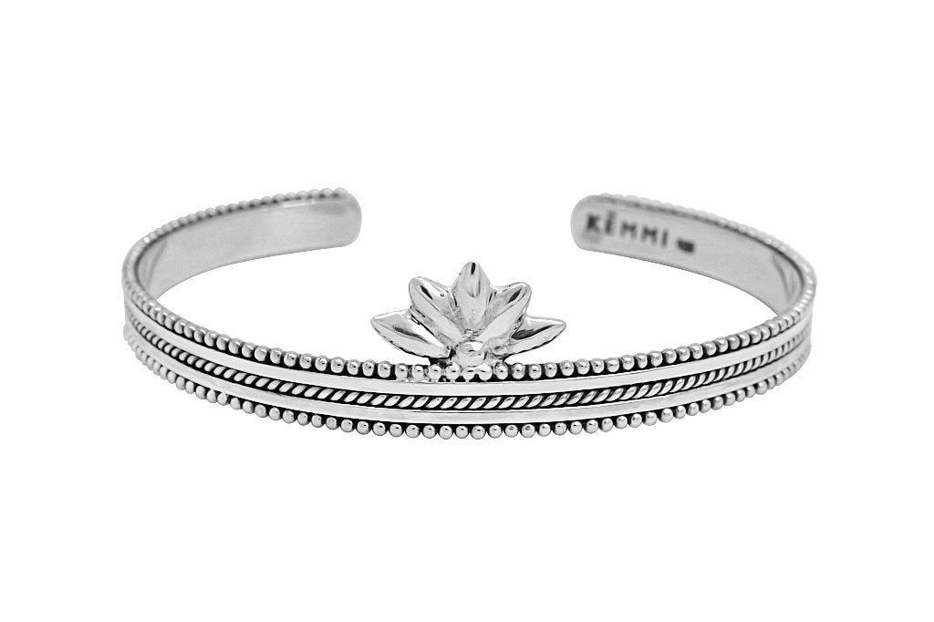 sterling silver cuff bracelet lotus shape boho handmade gypsy jewelry kemmi collection