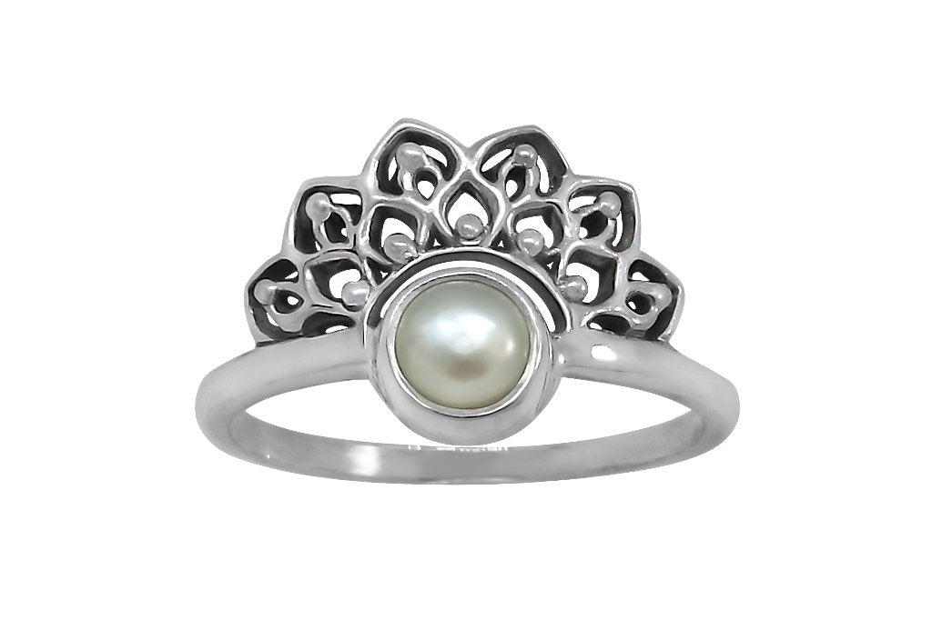 sterling silver ring lotus mandala pearl boho bohemian style dainty thin band handmade kemmi collection