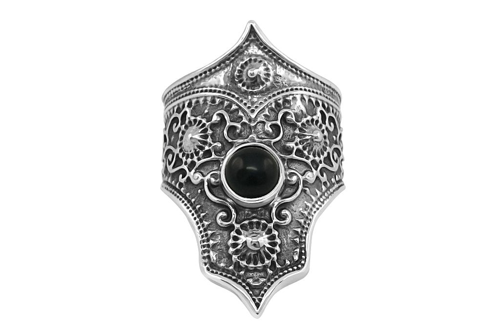 women's sterling silver moroccan black onyx stone handmade  bohemian style adjustable jewelry kemmi collection