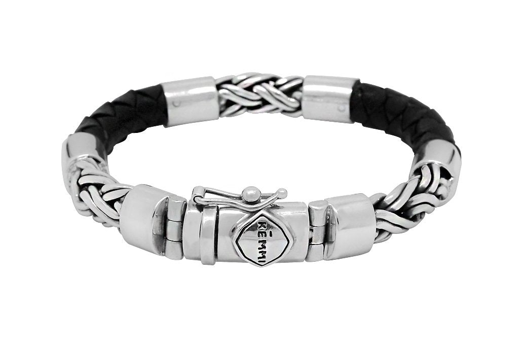 men's leather bracelet sterling silver contemporary kemmi collection
