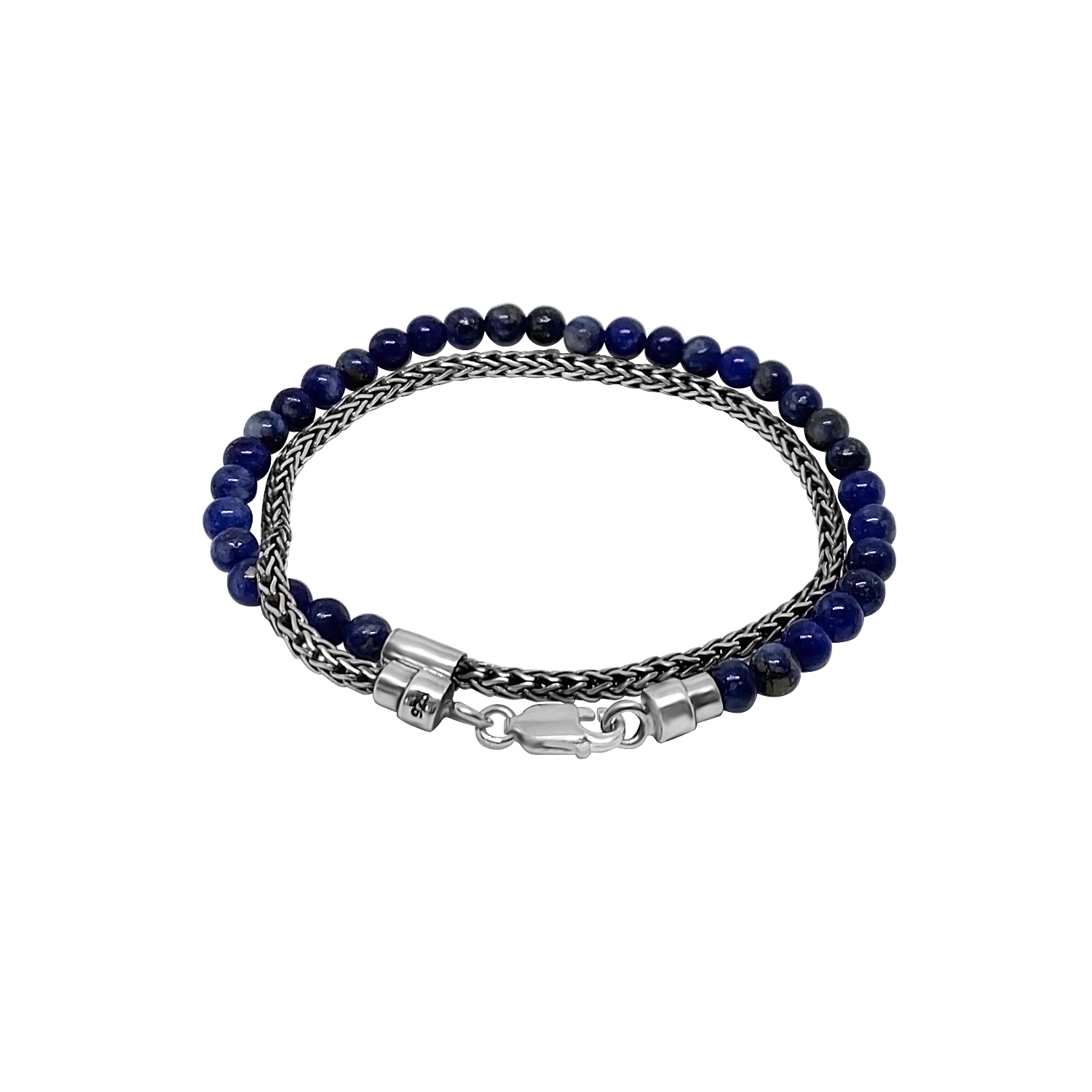 Men's Silver Mini Chain Blue Lapis Beads