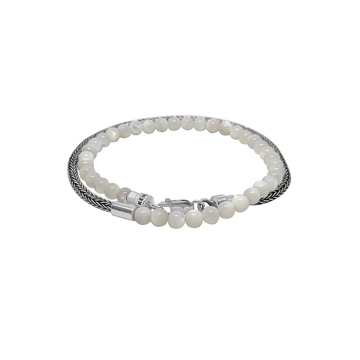 Silver Mini Chain Bead Mother of Pearl