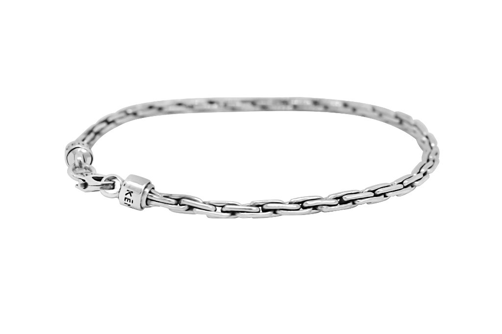 Men's Silver thin bracelet every modern jewelry stackable style kemmi collection