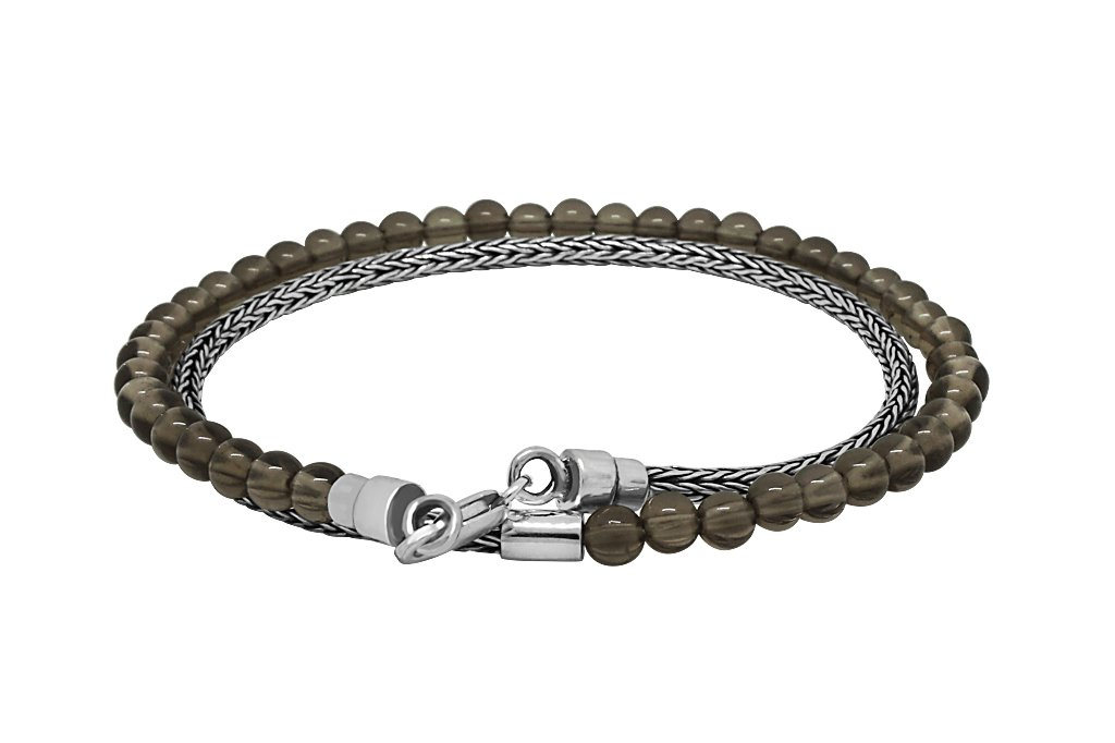 thin men's sterling silver wrap bracelet everyday modern stackable accessory quartz beads kemmi collection