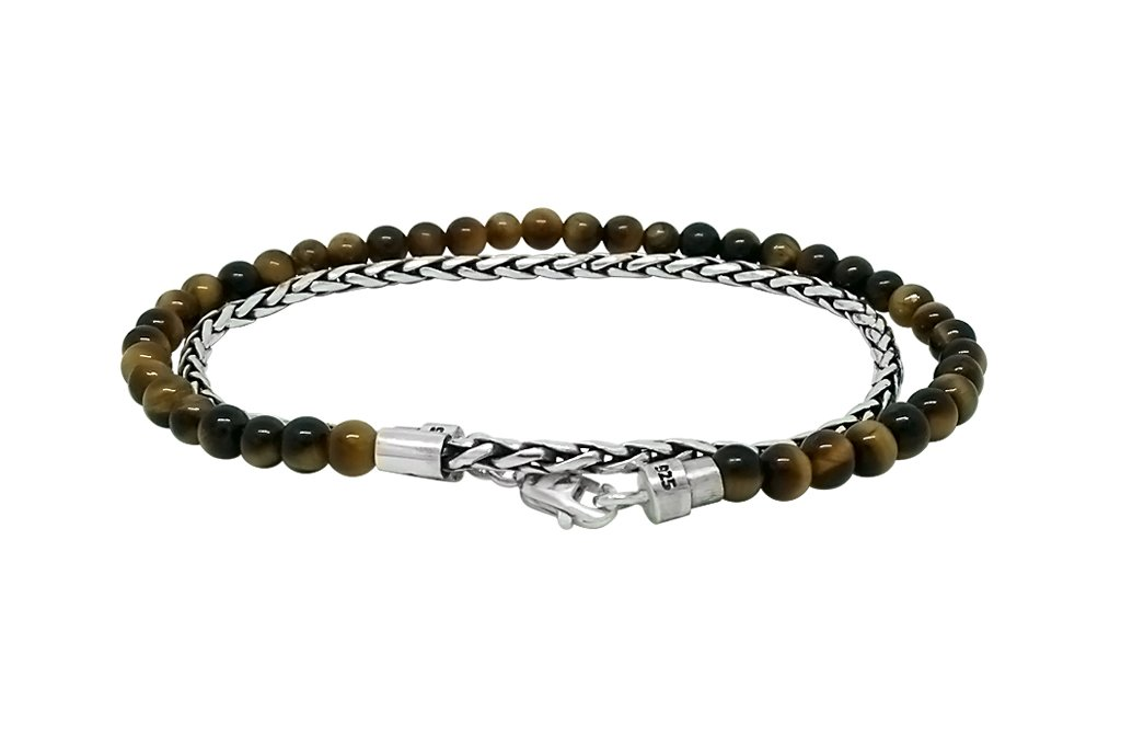thin wrap bracelet sterling silver tiger eye bead stone lobster clasp modern versatile style kemmi collection