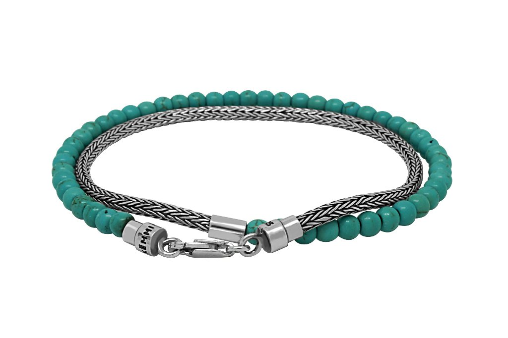 thin sterling silver snake chain handmade wrap bracelet with turquoise beads lobster clasp versatile kemmi collection