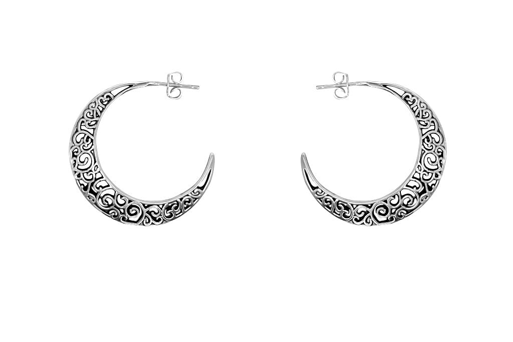 Women's moon shape earrings sterling silver bohemian jewelry style kemmi collection