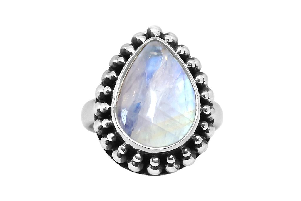 large moonstone silver ring bohemian gypsy festival jewels kemmi collection