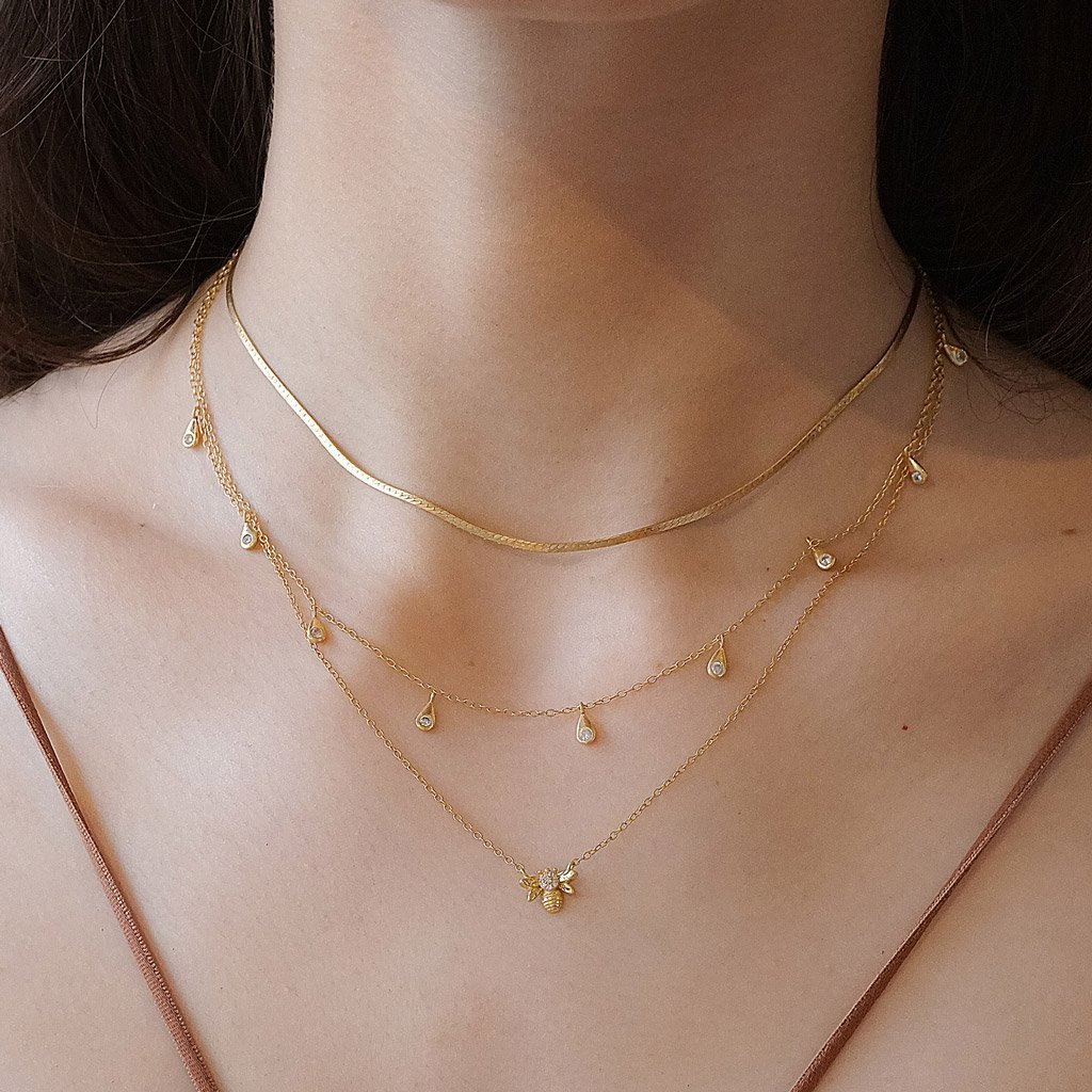 14k gold vermeil layered style necklaces bee pendant herringbone choker boho chic jewelry kemmi collection