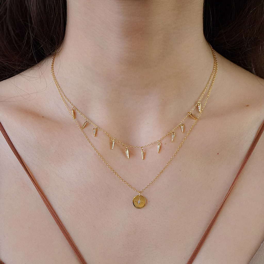 14k gold vermeil necklace layered style necklaces north star coin pendant kemmi jewelry dainty jewelry