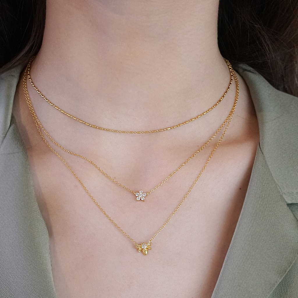 14k gold vermeil layered style necklaces dainty bee pendant cubic zirconia boho chic jewelry