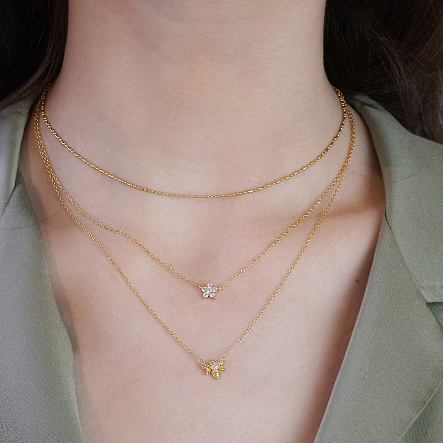 bee pendant necklace chain gold vermeil 14k jewelry boho chic kemmi collection