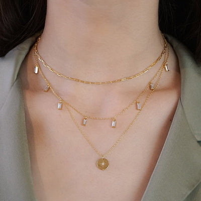 14k gold vermeil layered style necklaces north star coin pendant multi charms paper clip choker kemmi jewelry boho chic