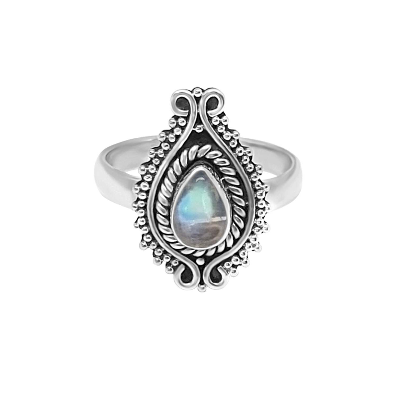 sterling silver ring moonstone bohemian chic style jewelry kemmi collection handmade boho