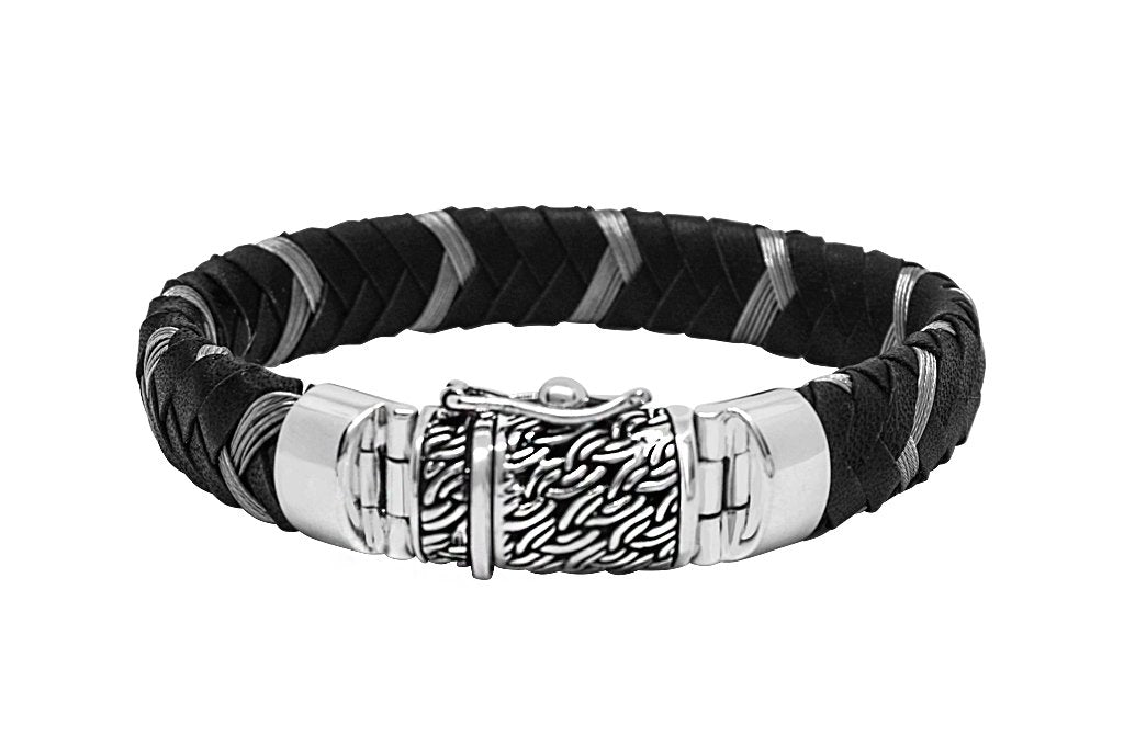 Mens Leather Bracelet Sterling Silver Nylon Handmade Jewelry Kemmi Collection