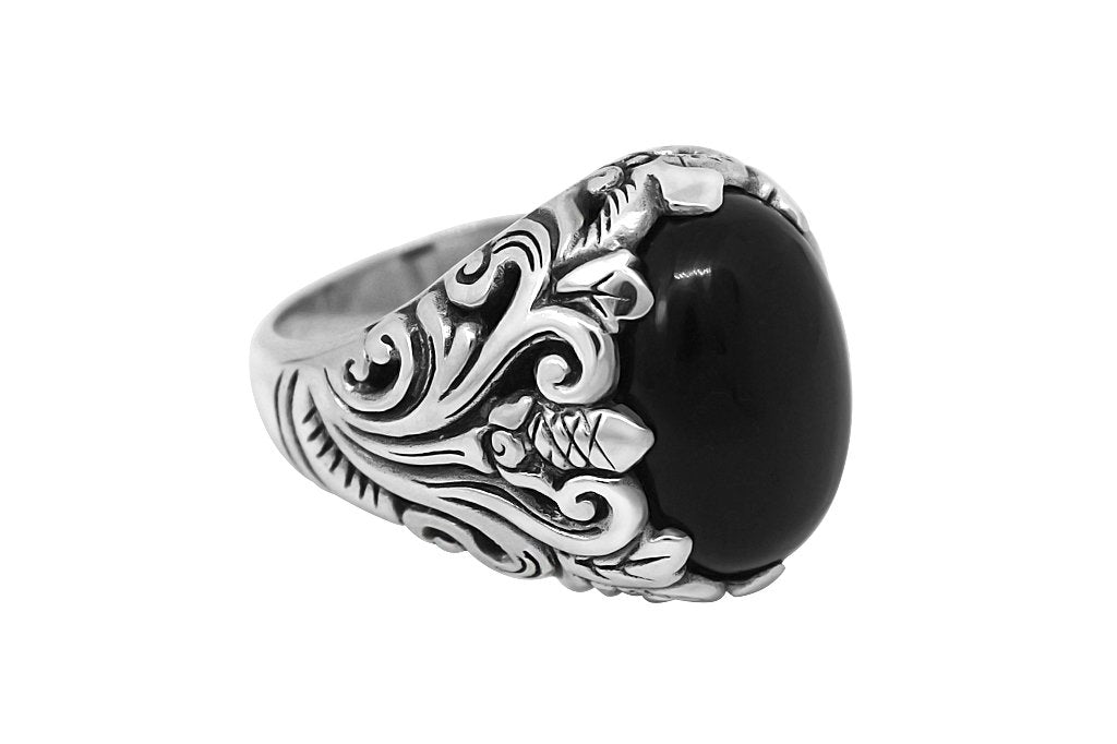 Men's sterling silver Statement ring large black onyx stone modern style Kemmi Collection