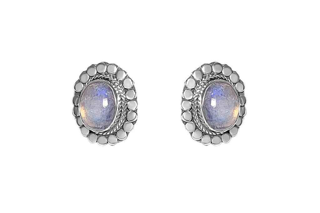 Silver Oval Moonstone Stud Earrings