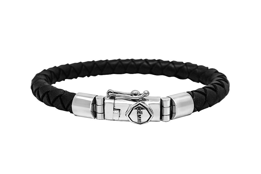 Men's black leather bracelet sterling silver closure clasp modern style kemmi collection