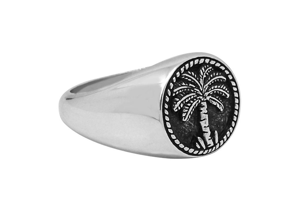 men's sterling silver ring coconut palm tree signer style kemmi collection