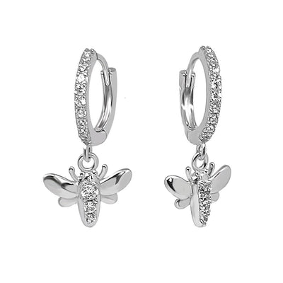 sterling silver  bee hoop style earrings pavé stone cz kemmi jewelry boho chic elegant
