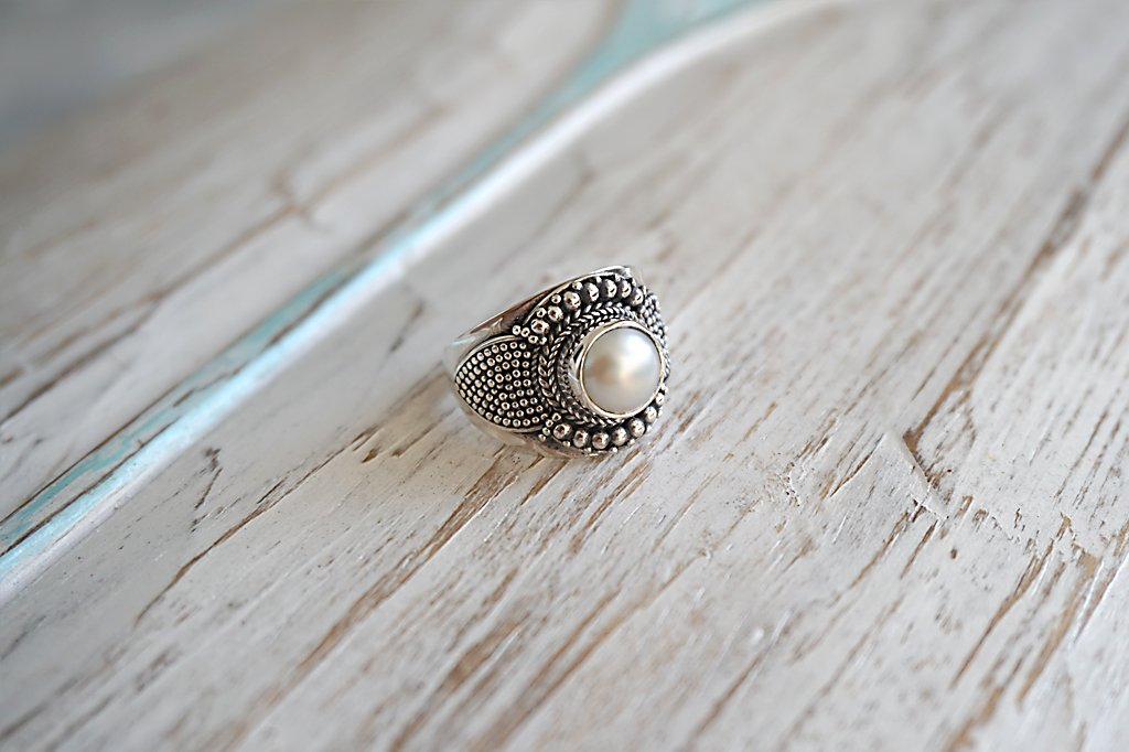 women's boho chic silver ring bohemian pearl gypsy style handmade jewelry kemmi collection