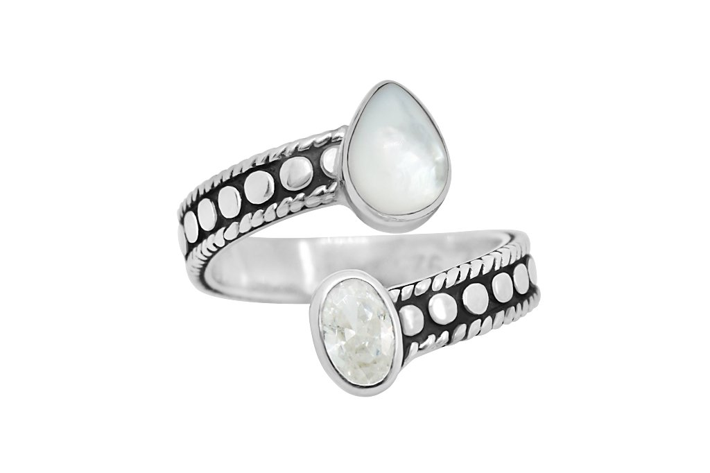 sterling silver ring handmade oxidized mother of pearl cz cubic zirchonia boho chic ring kemmi collection
