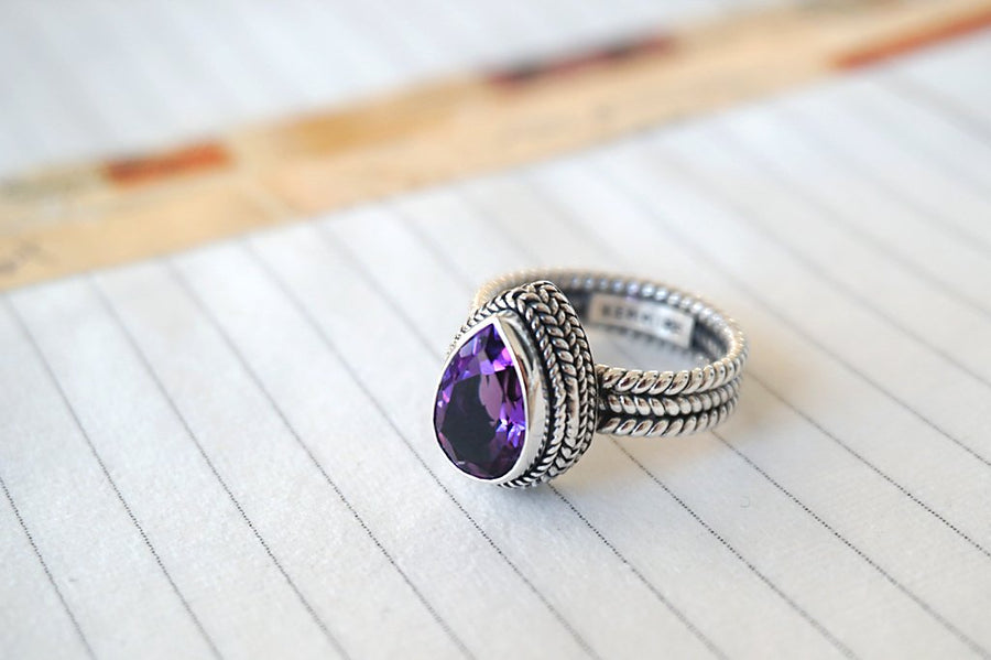 women's handmade silver ring amethyst stone boho chic statement jewels kemmi collection