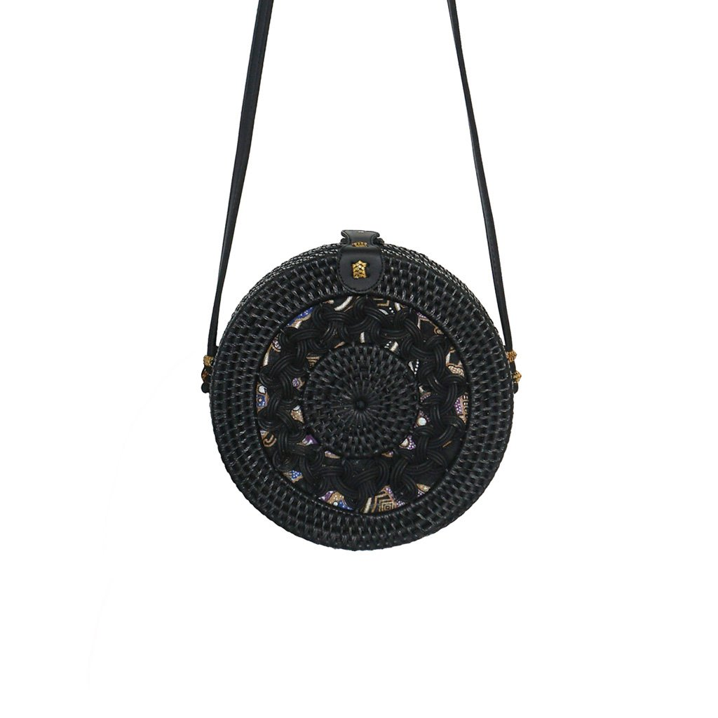 Round Sun Black Straw Bag