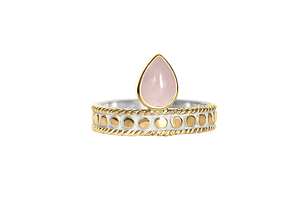 18k yellow gold vermeil ring tear drop shape rose quartz stone stackable style ring bohemian jewelry kemmi collection