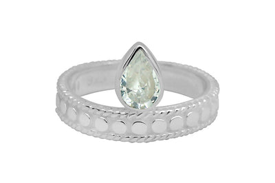 women's white sterling silver handmade ring cubic zirconia stone stackable style jewelry kemmi collection
