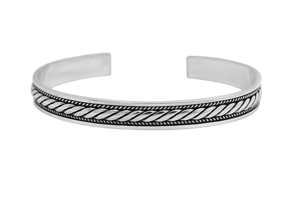 men's sterling silver cuff bangle bracelet modern casual style jewelry kemmi collection